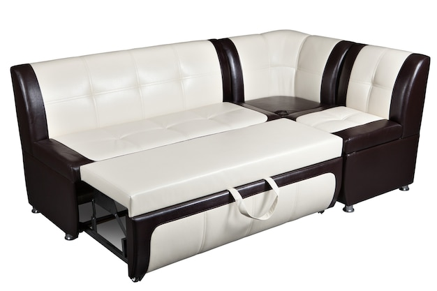 Convertible corner sectional sofa bed in imitation leather, furniture for kitchen,  isolated on white background, include clipping path.