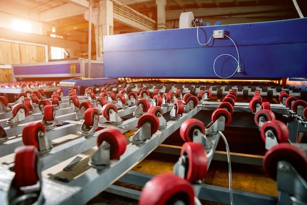 Conveyor belt for production a window pane. industrial equipment.