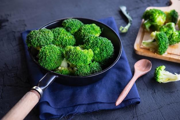 Cook fresh broccoli vegetables health food