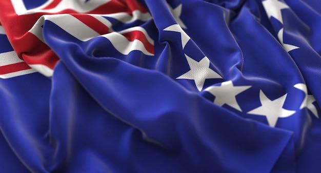 Cook islands flag ruffled beautifully waving macro close-up shot