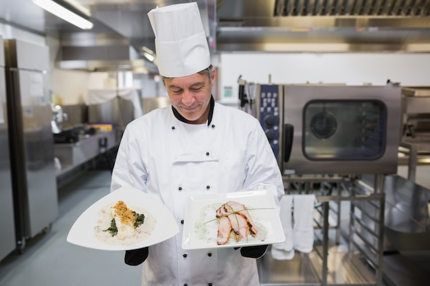 Cook looking at his meals