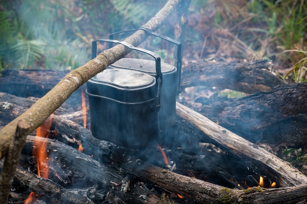 Cook rice during travel through a forest