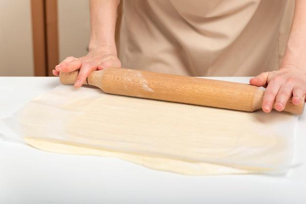 クックは麺棒で生地を薄く伸ばします