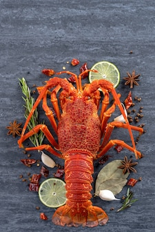Cooked boiled lobster with lemon, herbs and spices