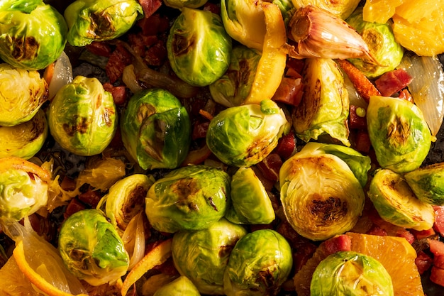 Cooked brussels sprouts close up