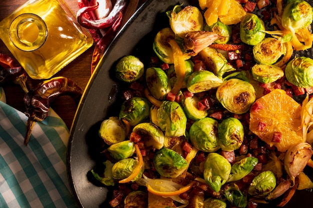 Cooked brussels sprouts in a pan