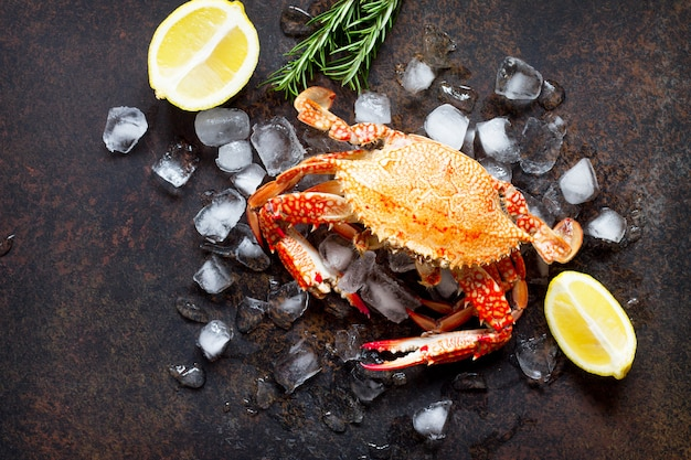 Cooked crab on ice cubes with lemon