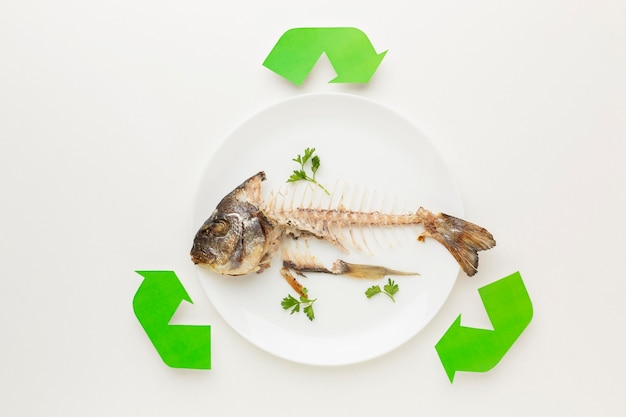 Cooked fish leftovers abstract recycle symbol