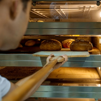 Cooked fresh breads in furnace