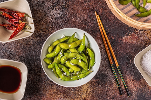 Cooked green edamame, japanese food. top view.