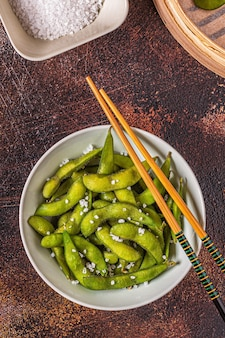 Cooked green edamame, japanese food