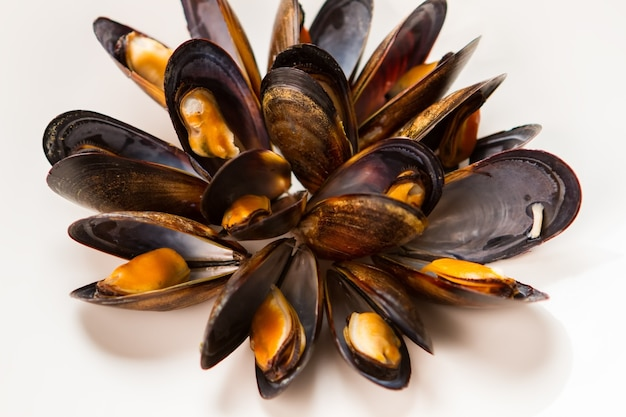 Cooked mussels on white background. yellow meat in dark shell. try the seafood delicacy. most expensive dish in restaurant.