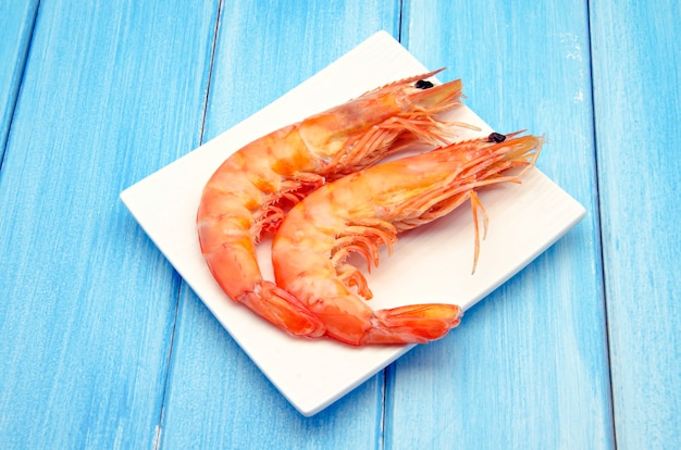 Cooked prawns served on a plate