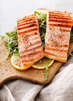 Cooked salmon steaks