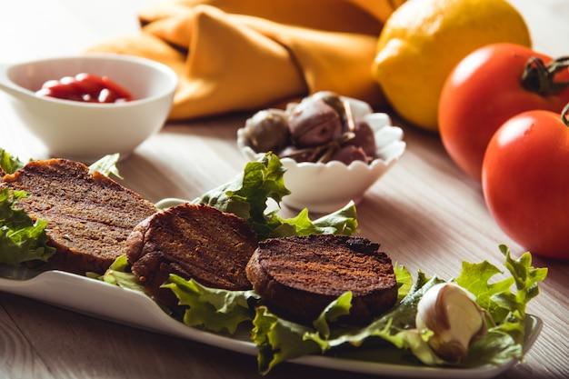 Cooked seitan dishes, vegan and vegetarian food