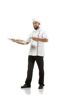Cooker, chef, baker in uniform isolated on white
