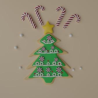 クリトマスの木の形をしたクッキーとお菓子。 3dレンダリング。お正月焼き菓子・デコレーション