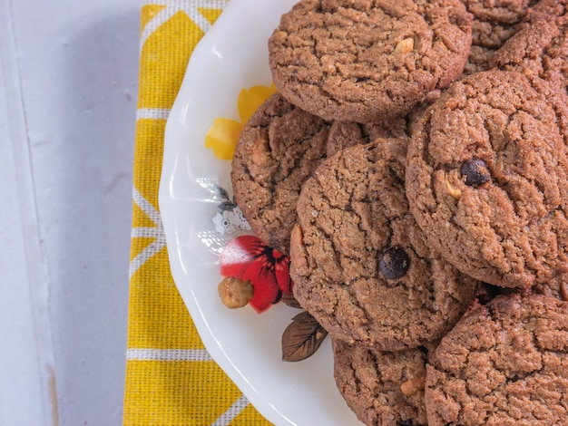 The cookie chocolate chip on white disc for food  concept