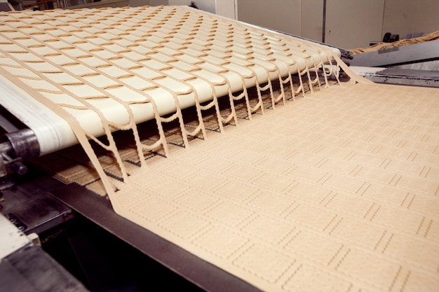공장에서 쿠키 만들기 기계.