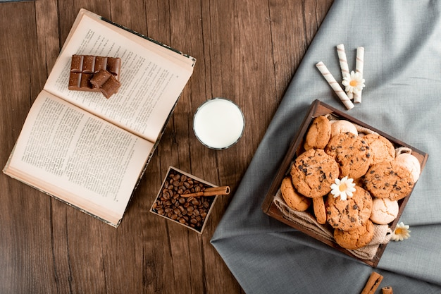 Cookie tray on a blue tablecloth and a glass of milk