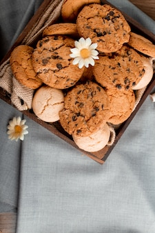 Cookie tray on a blue tablecloth.