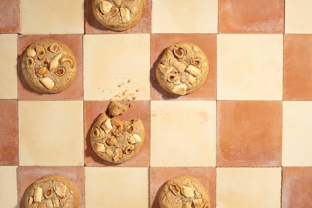 Cookies arrangement flat lay