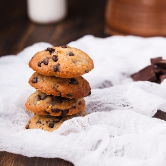 Cookies for christmas with chocolate and milk.