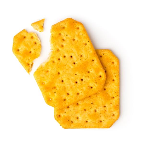 白で壊れたクッキークラッカー。上面図。