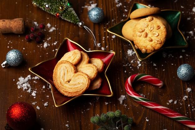 クッキー-食品のクリスマスの装飾の背景
