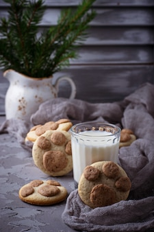 Cookies in the shape of cats paw. selective focus