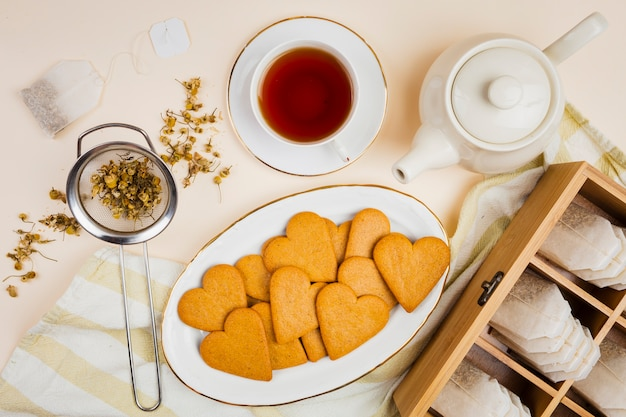 Cookies and tea in flat lay
