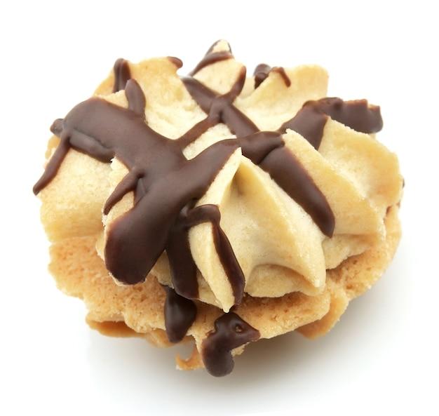 Печенье с шоколадом крупным планом
