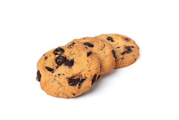 白で隔離チョコレートとクッキー。