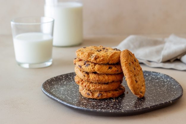 Cookies with chocolate. pastries. breakfast. recipe.