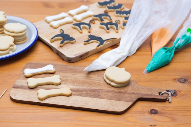 Cookies with different halloween shapes decorated cookie decorations copy space homemade