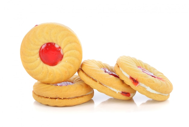 Cookies with fruit jam isolated on white background