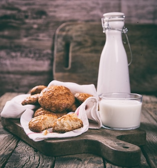 Cookies with a glass of milk.  homemade cakes