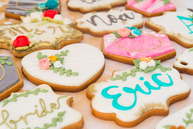 Cookies with heart shape for weddings or valentines day