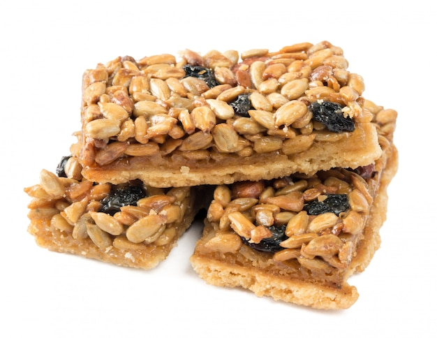 Cookies with peanuts, sunflower seeds and dried grapes.