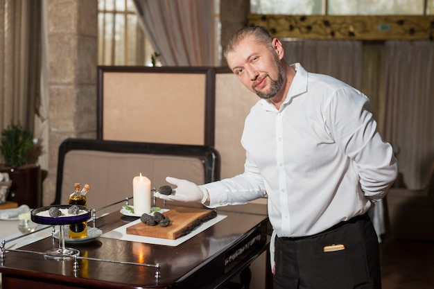 Cooking black truffle in a restaurant