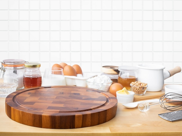 Cooking breakfast food or bakery with copy space of chopping board
