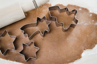 Cooking Christmas cookies. Gingerbread dough.