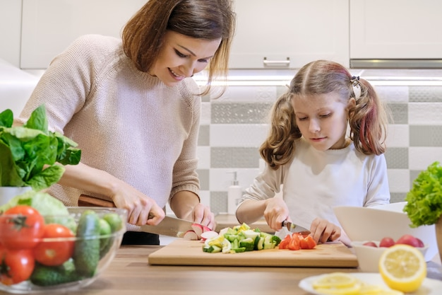 Cooking healthy home meal by family