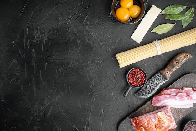 이탈리아 음식 콜라주 요리. 까르보나라 파스타 재료, 기름, 햄, 계란, 파마산 치즈