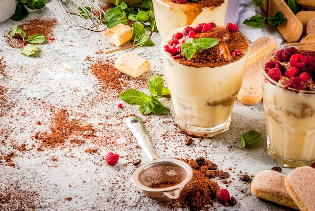 Cooking italian food dessert tiramisu with all the necessary ingredients cocoa coffee mascarpone cheese mint and raspberries on grey stone background.