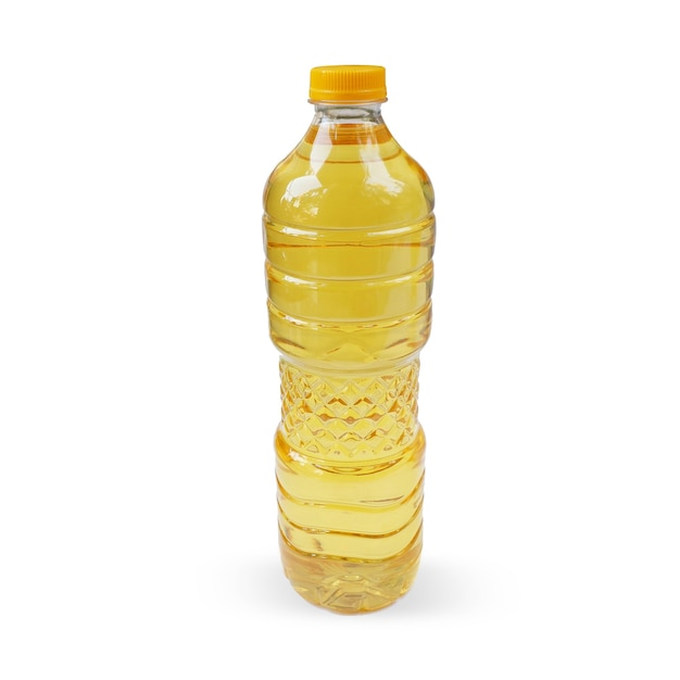 Cooking oil in a bottle isolated on a white background