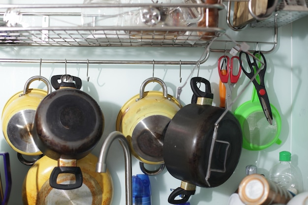 Cooking pots hanging from a wall