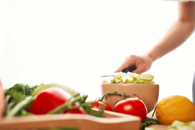 料理サラダカット野菜カッティングテーブル材料