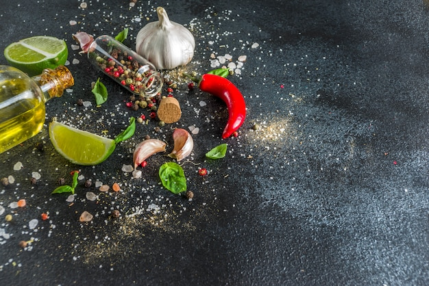 Cooking stone concrete background with spices
