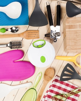 Cookware and accessories on wood